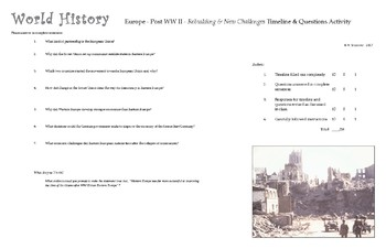 World History  -  Post WW II - Rebuilding & New Challenges Fill - In Timeline