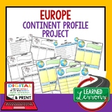 Europe Project Activity Pages (Paper and Google Drive) World Geography