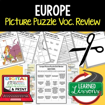 Europe Picture Puzzle, Test Prep, Unit Review, Study Guide