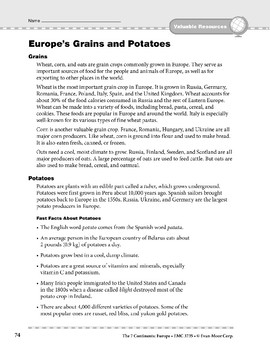 Europe: Resources: Grains, Potatoes, Olives, Wine