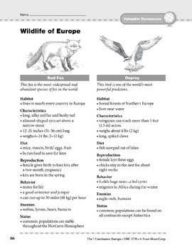 Europe: Resources: Wildlife