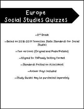 Europe Social Studies Map Quizzes