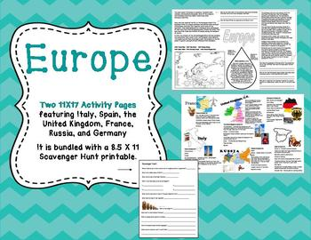 Europe: Two 11X17 Activity Pages and Scavenger Hunt Bundle