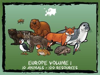 Europe Volume 1 -- 10 Wild Animals -- 100 K-2 Resources