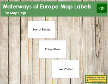 European Waterways Map Labels - Pin Map Flags
