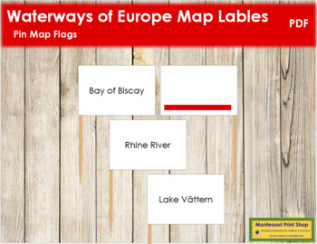 European Waterways Map Labels - Pin Map Flags (color-coded)