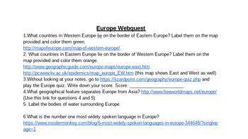 Europe Web Quest