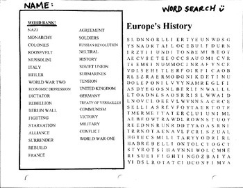 Europe Word Search