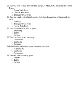 Europe and the Americas Study Guide and Test