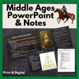 Europe in the Middle Ages PowerPoint and Cornell Style Note Sheets