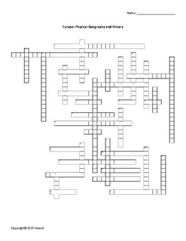 Europe's Physical Geography and History Crossword for Middle School Geography
