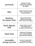 Europe's Physical Geography and History Flash Cards for Middle School Geography