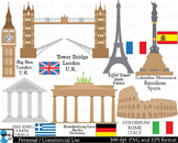 Europe travel - Clip Art Digital Files Personal Commercial