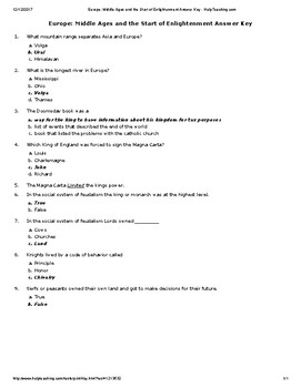 Europe_ Middle Ages and the Start of Enlightenment Answer Key