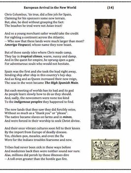 European Arrival in the New World (14) - verse, worksheets and puzzle