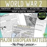 World War 2 Battles, World War II, WW2, WWII, Europe; Distance Learning