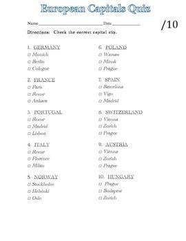 European Capitals (10 questions, multiple choice)