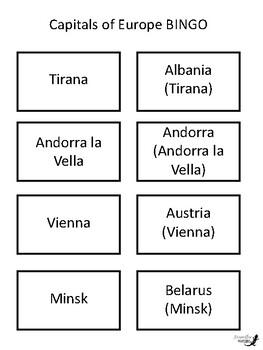 European Capitals BINGO!