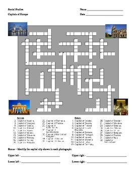 European Capitals Crossword Puzzle