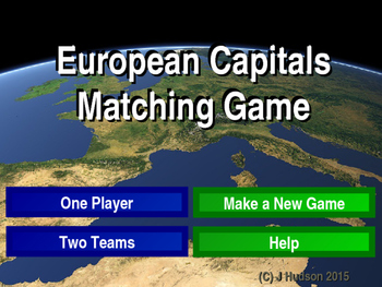 European Capitals Interactive Matching Pairs Game