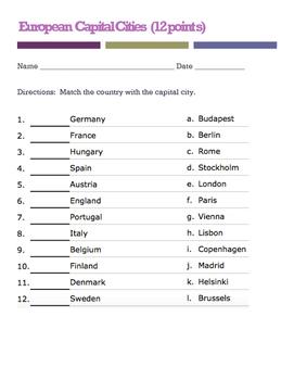 European Capitals quiz (Matching)
