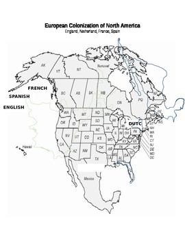 European Colonization Map (4.8:  English, Dutch, French, Spanish) Drag & Drop