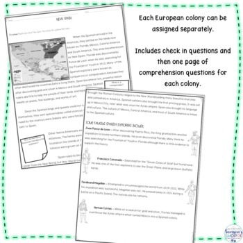 European Colonization in the Americas Nonfiction Reading Comprehension Packet