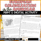European Colonization in the Americas Reading Comprehensio