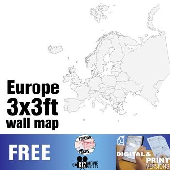 European Continent Wall Map (3x3ft)