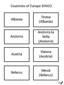 European Countries BINGO!