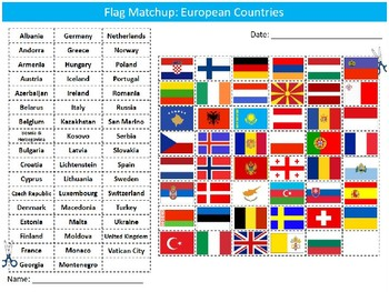 European Countries Flags Matchup Puzzle Sheet Europe Geography