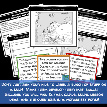 European Countries Geography Scavenger Hunt and Task Cards