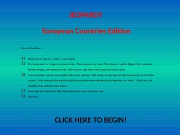 European Countries Jeopardy Review Game