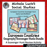 European Countries Scavenger Hunt Task Card Game Sets BUNDLE! 5 Sets - 1 Price!
