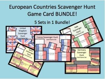 European Countries Scavenger Hunt Task Card Game Sets BUNDLE! 5 Sets - 1 Price!