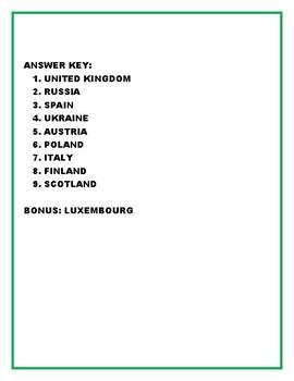 European Countries Word Scramble