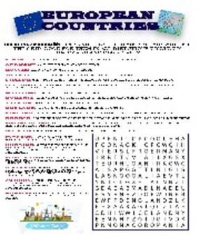 European Countries Word Search & Crossword