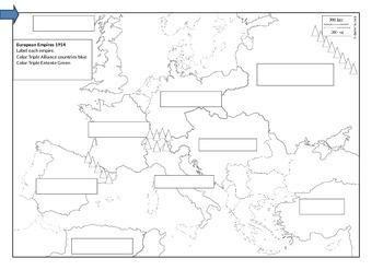 European Empires 1914 Map to label