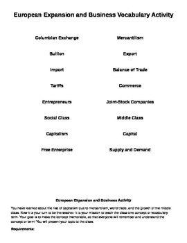 European Expansion and Business Vocabulary Activity