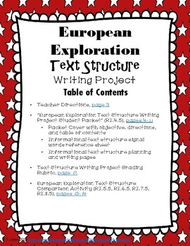 European Exploration Informational Text Structure Writing Project and Comparison