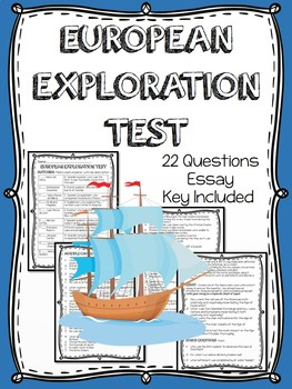 European Exploration Test, Assessment, Includes Study Guide and Chart