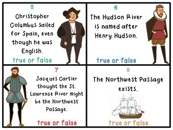 European Exploration True or False Task Cards