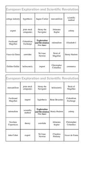 European Exploration and Scientific Revolution Bingo
