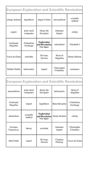 European Exploration and Scientific Revolution Bingo