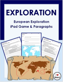 European Exploration iPad Game Worksheets & Paragraphs (FREE GAME ON APP STORE)
