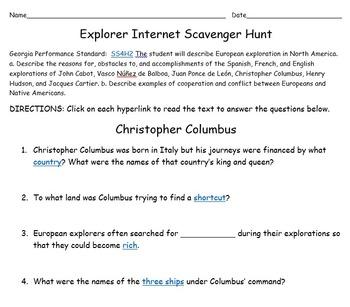 European Explorer Internet Scavenger Hunt