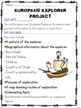 European Explorer Project- Assignment, Rubric, Planning Sheet