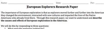European Explorer Research Paper