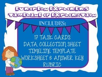 European Explorer Timeline of Exploration-Task Cards, Timeline, & More