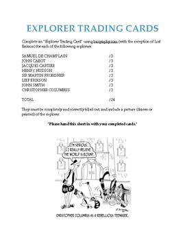 European Explorer Trading Cards